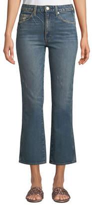 Amo Denim Bella Cropped Distressed Flare-Leg Jeans