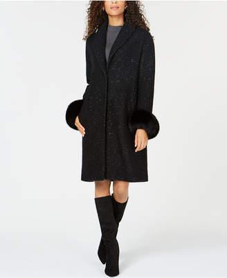 Elie Tahari Fox-Fur-Cuffs Coat