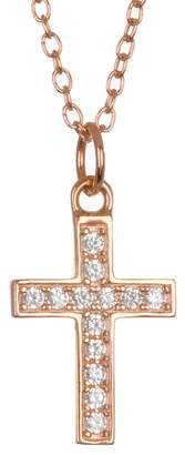 Argentovivo 18K Rose Gold Plated Sterling Silver Pave CZ Cross Pendant Necklace
