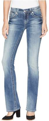 Miss Me Horseshoe Mid-Rise Bootcut Jeans in Medium Blue Women's Jeans