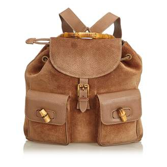 Gucci Vintage Bamboo Brown Suede Backpacks