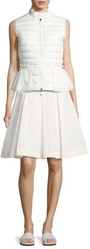 MonclerMoncler Valensole Lace-Trim Peplum Puffer Vest, White