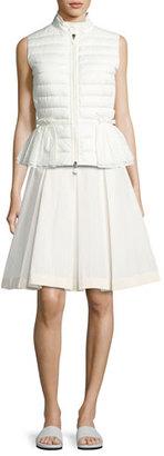 Moncler Valensole Lace-Trim Peplum Puffer Vest, White $1,020 thestylecure.com