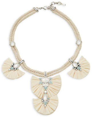 Lucky Brand Rafia Fan Statement Necklace