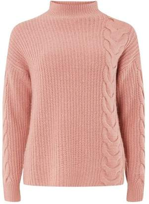Dorothy Perkins Womens Pink High Neck Cable Jumper