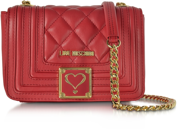 Love MoschinoLove Moschino Red Quilted Eco Leather Shoulder Bag