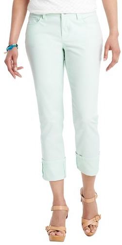 LOFT Petite Curvy Straight Cuffed Cropped Jeans