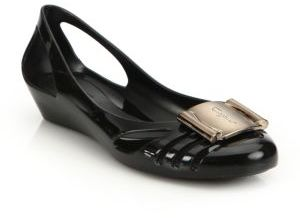 Salvatore Ferragamo Bermuda Cutout Jelly Wedge Sandals $280 thestylecure.com