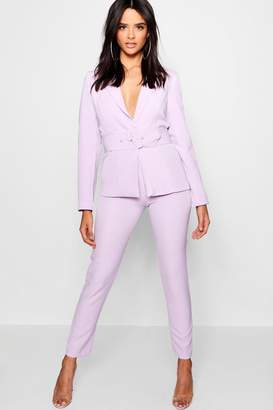 boohoo White Button Detail Tapered Trouser