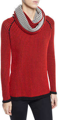 Lisa Todd Chain Stitch Cashmere Sweater with Scarf, Plus Size