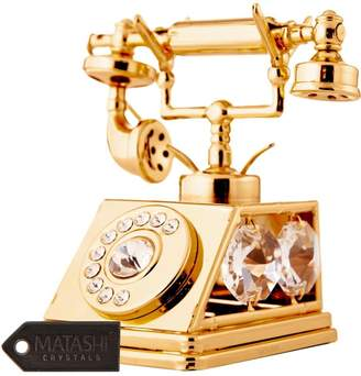 Swarovski Matashi 24k Plated Telephone Ornament Made with Elements Crystals By Charming Temptations