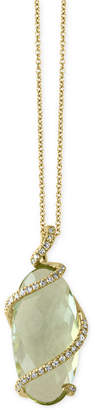 Effy Prasiolite (7-1/6 ct. t.w.) and Diamond (1/8 ct. t.w.) Pendant Necklace in 14k Gold