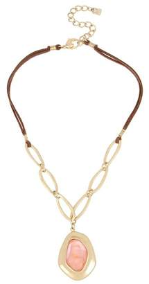 Robert Lee Morris Faceted Stone Oval Faux Suede Necklace