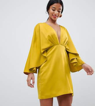 Asos DESIGN Petite satin cape kimono sleeve deep plunge mini dress