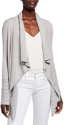 Neiman Marcus Super Fine Lattice Stripe Draped Silk/Cashmere Cardigan