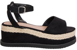 059603d2d79 Missy Empire Missyempire Breeze Black Suede Vamp Espadrille Flatform Sandals