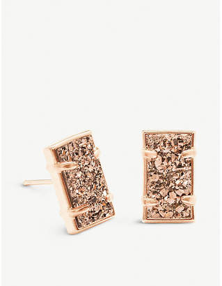 Kendra Scott Paola 14ct rose gold-plated brass and rose gold drusy earrings