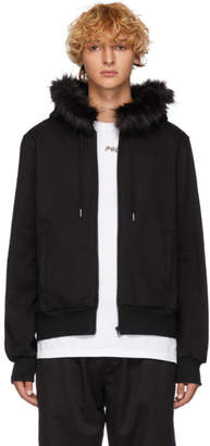 Opening Ceremony Black Faux-Fur Trim Hoodie