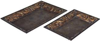 Household Essentials 2-piece Decorative Vintage Metal Tray Set