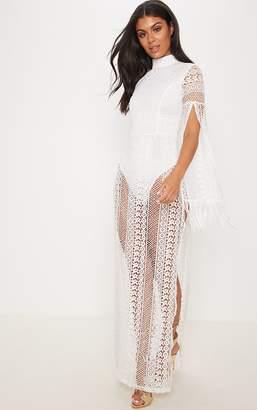 PrettyLittleThing White Crochet Split Leg Maxi Dress