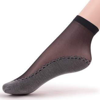 Online Sexy 1 Pairs Womens Non Slip Short Sock Thin Transparent Crystal Silk Socks Pure Color