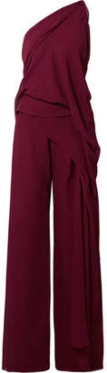 Roland Mouret Nettleton Draped One-shoulder Silk-crepon Jumpsuit - Burgundy