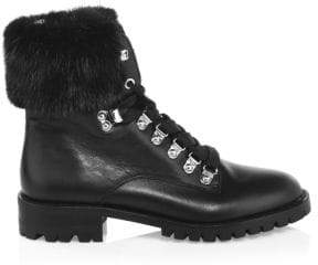 Rebecca Minkoff Jaylin Fox-Fur Trim Leather Combat Boots