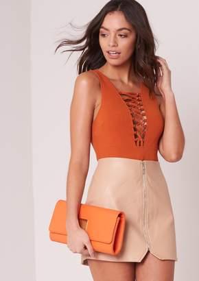 Missy Empire Missyempire Nova Nude Faux Leather Zip Up Mini Skirt