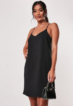 Missguided Tall Black Crepe Cami Shift Dress