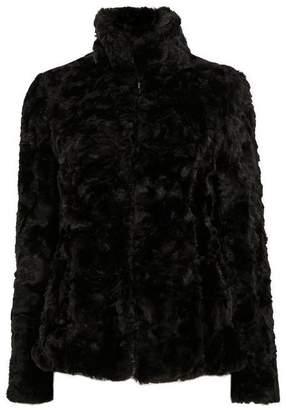 Wallis Black Faux Fur Short Funnel Coat
