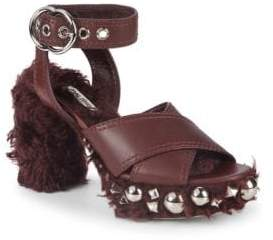 Miu Miu Studded Faux Shearling and Leather Ankle-Strap Sandals