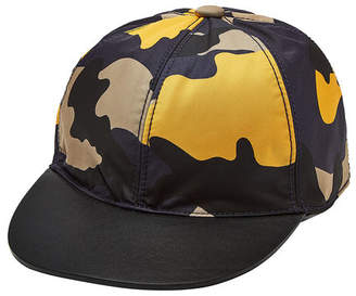 Valentino Camouflage Cap with Leather