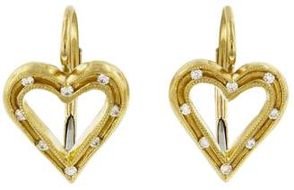 Cathy Waterman Fairy Lights Heart Earrings - Yellow Gold