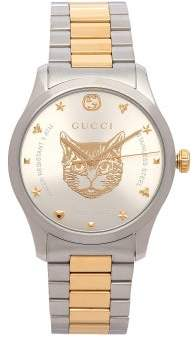 Gucci G Timeless Tiger Face Watch - Mens - Silver Gold