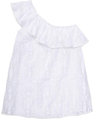 Milly MINIS CABANA CROCHET ONE SHOULDER COVERUP
