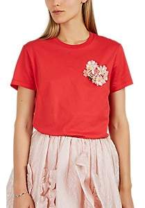Simone Rocha 4 MONCLER Women's Embellished Cotton Jersey T-Shirt - Red
