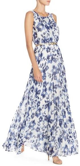 Women's Eliza J Floral Pleat Chiffon Maxi Dress 2