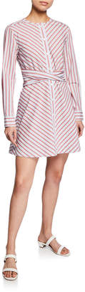 Derek Lam 10 Crosby Stripe Poplin Long-Sleeve Mini Shirt Dress