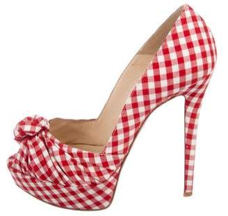Christian Louboutin Checkered Peep-Top Pumps
