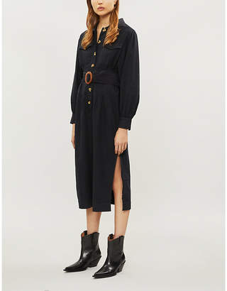 Free People Audrey belted cotton midi dress