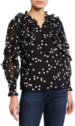 Rebecca Taylor Alessandra Floral Long-Sleeve Ruffle Top