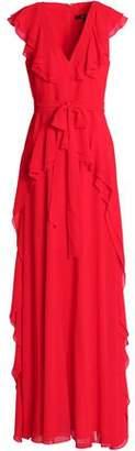 Badgley Mischka Belted Ruffled Chiffon Gown