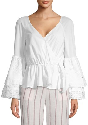 Rebecca Minkoff Melly Bell-Sleeve Cotton Top