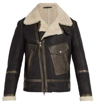 Neil Barrett Shearling Leather Jacket - Mens - Black
