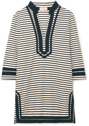 Tory Burch Striped Cotton-blend Terry Tunic - Black