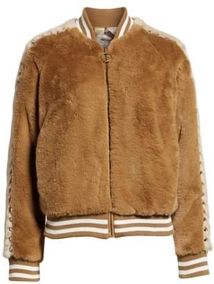 Mother Letterman Faux Fur Jacket