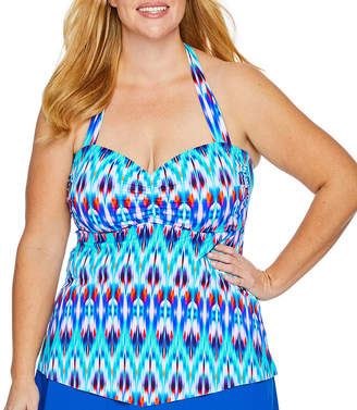 29fa2944b2183 Liz Claiborne Chevron Tankini Swimsuit Top-Plus
