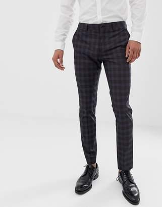 Jack and Jones slim suit pants in heritage check