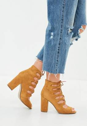 Missguided Brown Ghillie Block Heeled Sandal