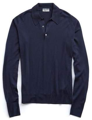 John Smedley Sweaters Long Sleeve Easy Fit Merino Polo in Navy